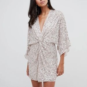 ASOS Tall scatter sequin knot front kimono dress